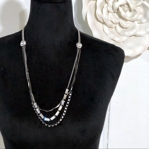 Fossil • Silver Multi-strand Crystal Necklace